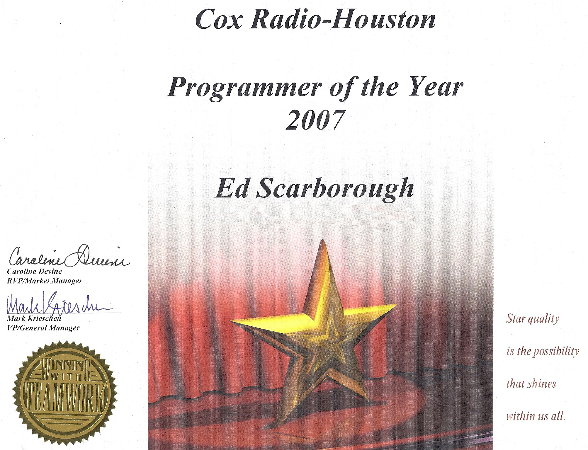 Ed Scarborough Radio Program Director Khtc Houston Kqxt