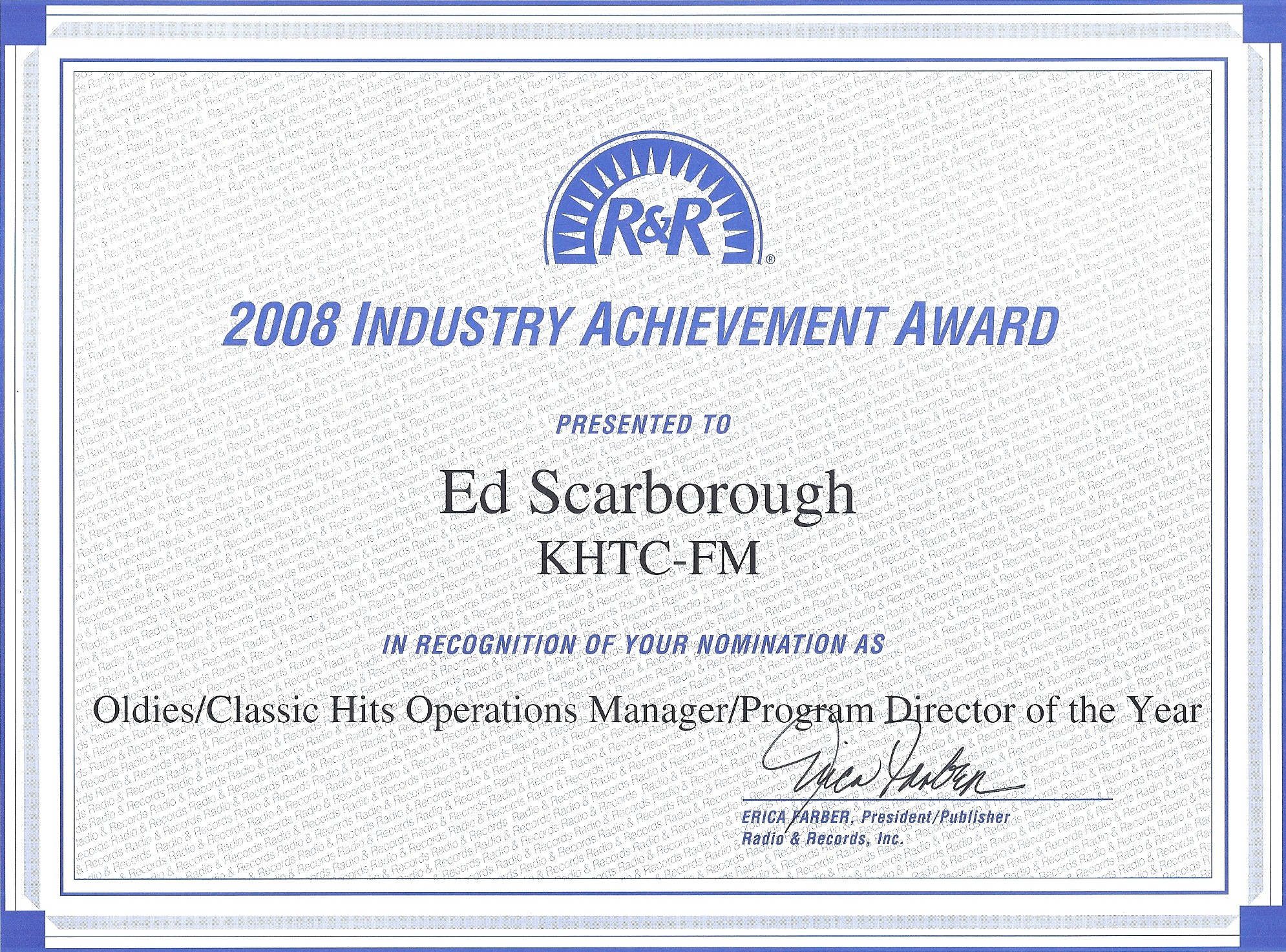 2008 Radio & Records Industry Achievement Award